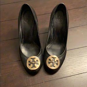 Tory Burch wedge gold logo heels